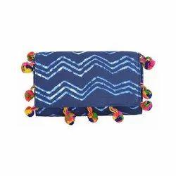 Azzra Blue Indego Fabric Clutch