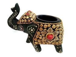 Wooden Elephant Candle Stand With Metal Work