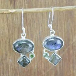 925 Sterling Silver Jewelry Labradorite And Peridot Gemstone Handmade Earring
