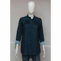 Women Full Sleeves Blue Printed Shirt