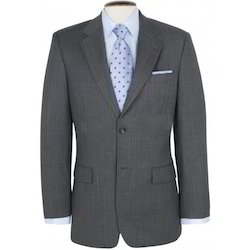 Blazer Grey Twill Weave Two Button Single Breast Blazer