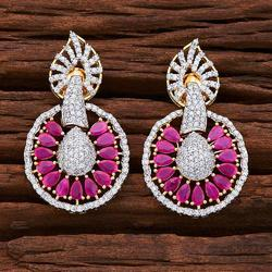 2 Tone Plated Cz Short Earring - 54844