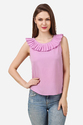 Sleeveless Round Neck Fancy Pink Pleated Top