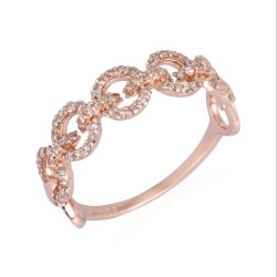 Pave Diamond Designer Link Chain Ring