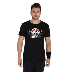 Black Cotton Omtex Casual Sports T Shirt