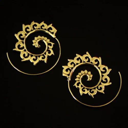 Mandala Brass Handmade Women Spiral Gold Plated Wedding Earrings