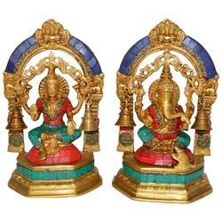 Lakshmi Ganesh Coral Stone Work Statue Of Brass For Worship In Antique Finish