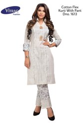 Straight 3/4th Sleeve Vitrag Cotton Flex Printed Kurti With Pant