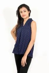 Full and short sleeve Moxcott printed Blue Top