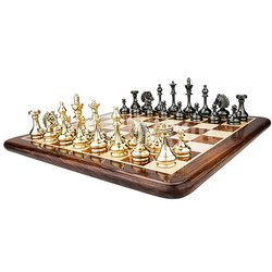 Flat Wood Cavalary Brass Chess Set