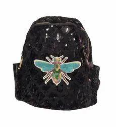 Printed Black Sequin Kids Backpack