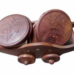 Round Wooden Coaster Set
