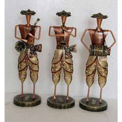 Multicolor Powder Coted Iron Musician With Turban Set, Size: 13-14 Inches
