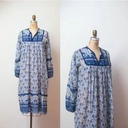 Cotton Embroidered Printed Dress