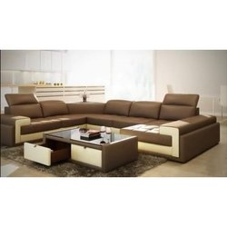 Cream And Brown Fancy Wooden Sofa Set