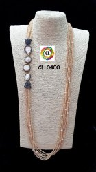 Cl Code Beige Rose gold Semi Precious Crystal Pearl Bollywood Designer Fancy Necklace