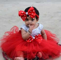 Party Wear Girl NIA'S Cute Red Bow Baby Designer Fluffy Frock