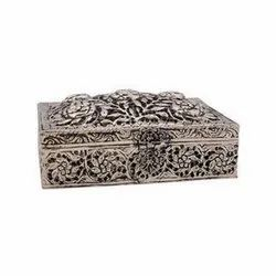 White Metal Hand Carved Jewellery Box