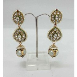 Designer Silver Kundan Earring