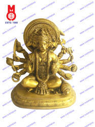 Lord Hanuman Sitting W/5Face On Oval Base Statue