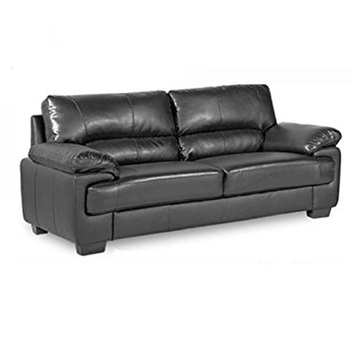 Plain Black Leather 2 Seater Sofa Rs