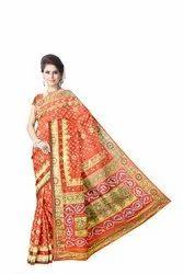 All Over Orange Color Fancy Design Work Art Silk Bandhani Saree