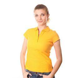 Cotton Ladies Plain Yellow T Shirt