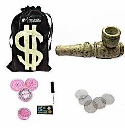 Stone Smoking Pipe American Design Tobacco Pipe 3 Inch INCL.Herb Crusher & Full Accessories