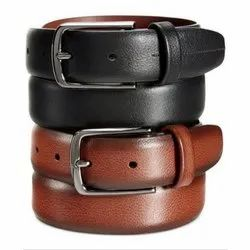Men Brown And Black Leather Belts, Packaging Type: Box