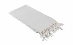 Krishna Emporium Plain White Cotton Turkey Towel, 450-550 GSM, Handwash