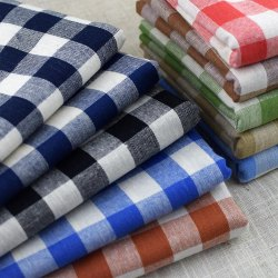 50-100 GSM Check And Plain Cotton Shirting Fabric