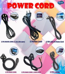 Power /Laptop Cord/2 & 3 Pin Power Cord