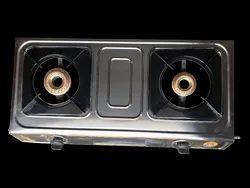 SKM Mini Steel 2 Burner LPG Gas Stoves, For Kitchen, Size: 69x34x9cm