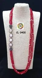 Cl Code Red Crystal Pearl Beads Long Handmade Statement Fashion Jewellery Necklace