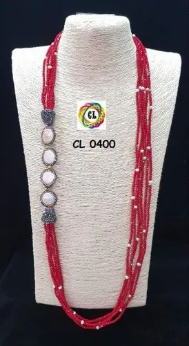 Cl Code Red Crystal Pearl Beads Long Handmade Statement Fashion