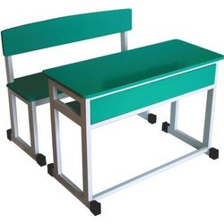 Two Seater Wooden School Bench
