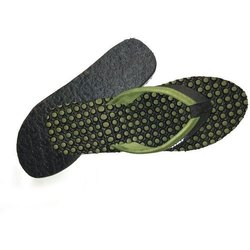 Black And Green Ladies Rubber Flexible Slippers