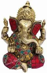 Brass Blessing Ganesha Statue Hindu God Idol Figurine
