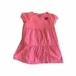 Cotton Round Neck Girls Sleeveless Pink Top, Size: Medium