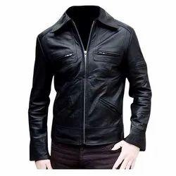 Regular Fit Men Black Leather Jacket MSG 0003