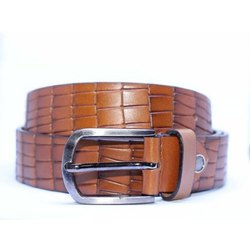 Fiume Textured Brown Leather Belt