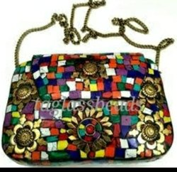 Flora Mosaic Working Purse Metal Clutch Bag