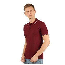 Mens Maroon Collar Neck T-Shirt