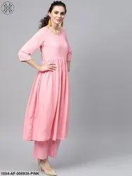 Nayo Solid Pink Anarkali Kurta Set