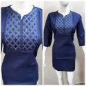 M-xxl Blue Ladies Cotton Designer Kurti