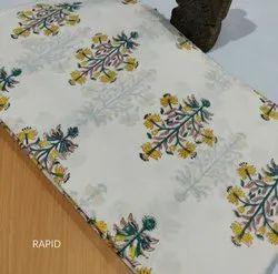 Cotton 44-45 Sanaganeri Block Print Fabric For Garments, GSM: 50-100