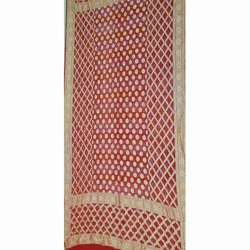 Party Wear Ladies Bandhani Gaji Silk Saree, 6.3 m (with blouse piece)
