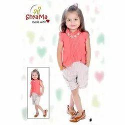 Shri Shyama Round Kids Peach Cotton Top With Shorts Dress
