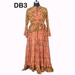 10 Rayon Printed Women's Long Dresses India DB3