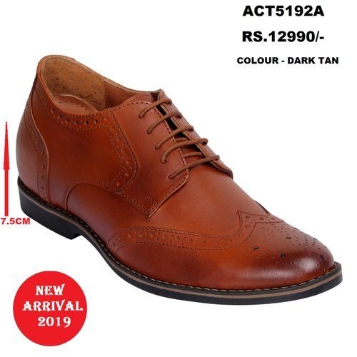 5e18a42ffe9 Dark Dual Shade Tan Formal Wingtip Brogue Height Increasing Leather Shoes  for Men